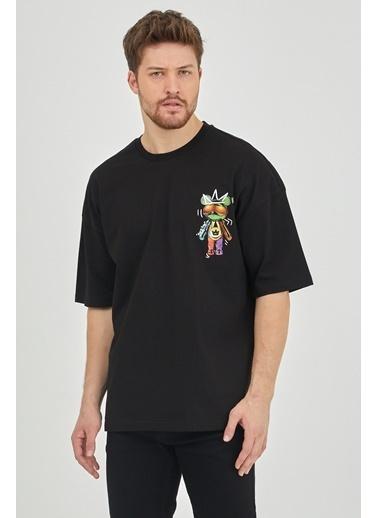 XHAN Lila Önür & Arkası Baskılı Oversize T-Shirt 1Kxe1-44624-26 Siyah